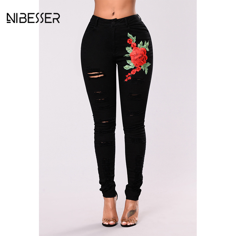 NIBESSER 2017 Plus Size 3xl Hole Ripped Denim Jeans Women Floral Embroidery Pencil Jeans Femme High Waist Jeans For Women Pants heyouthoney high quality women blue plus size s 3xl boyfriend sexy high waist hole ripped denim pencil jeans