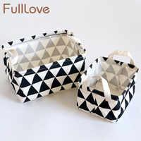 Nuevo 2 unids/set cajas y contenedores de almacenamiento de moda organizador de geometría de algodón de escritorio negro y blanco estuche cosmético organizador de maquillaje de lona