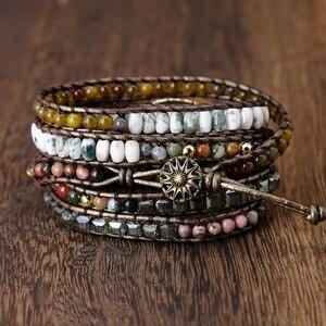 Image 5 - Labradorite stone vintage Leather Bracelet Mix Stones beads Women 5 Layers Wrap Bracelet Boho handmade Bracelet Jewelry gift