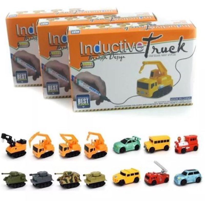 Inductive Car Line Follower Diecast Toys Car Trucks Vehicle Magic Pen Toy Tank Truck Excavator Construt Follow Any Line You Draw