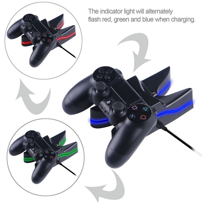 LED Light Two Charger Station Charging Stand Dock for Sony PS4 Game Controller 0323