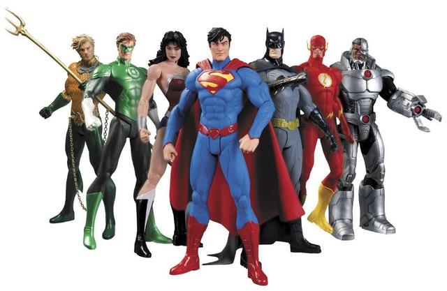 DC Comics Superheroes Brinquedos 7 pçs/set Superman Batman Mulher Maravilha O Aquaman Cyborg do Flash Lanterna Verde Figuras PVC