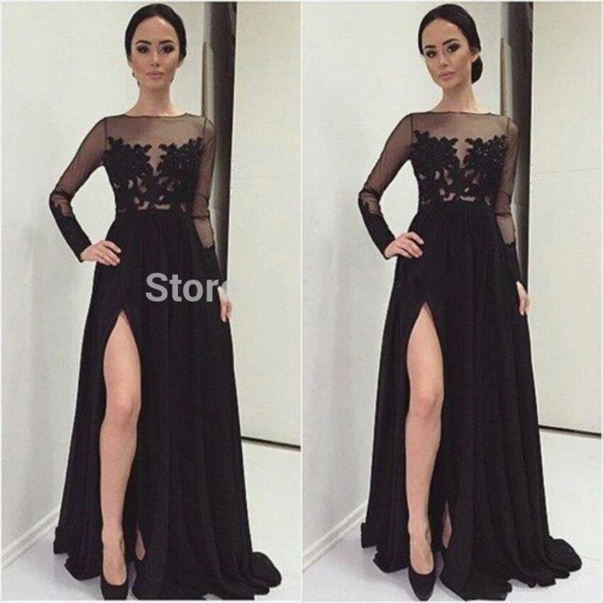 Dentelle Sexy manches longues 2018 femmes noires en mousseline de soie formelle longue soirée robe de bal chine robe de soirée mère des robes de mariée - 6