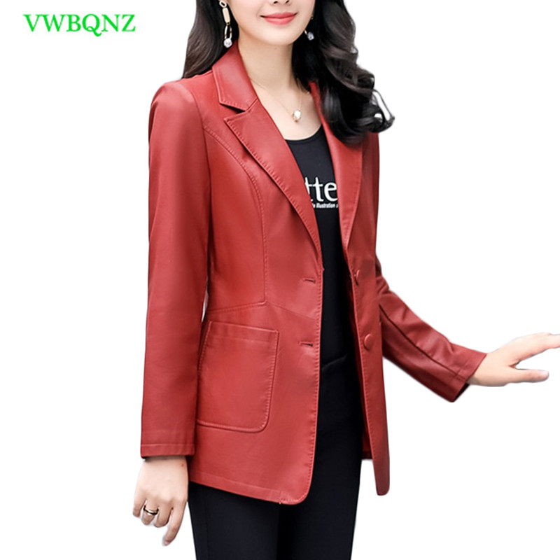 Spring New Plus size PU   Leather   Jacket Women Korean Slim Long Washed   Leather   Jacket Women's Temperament Green Outerwear 4XL A231