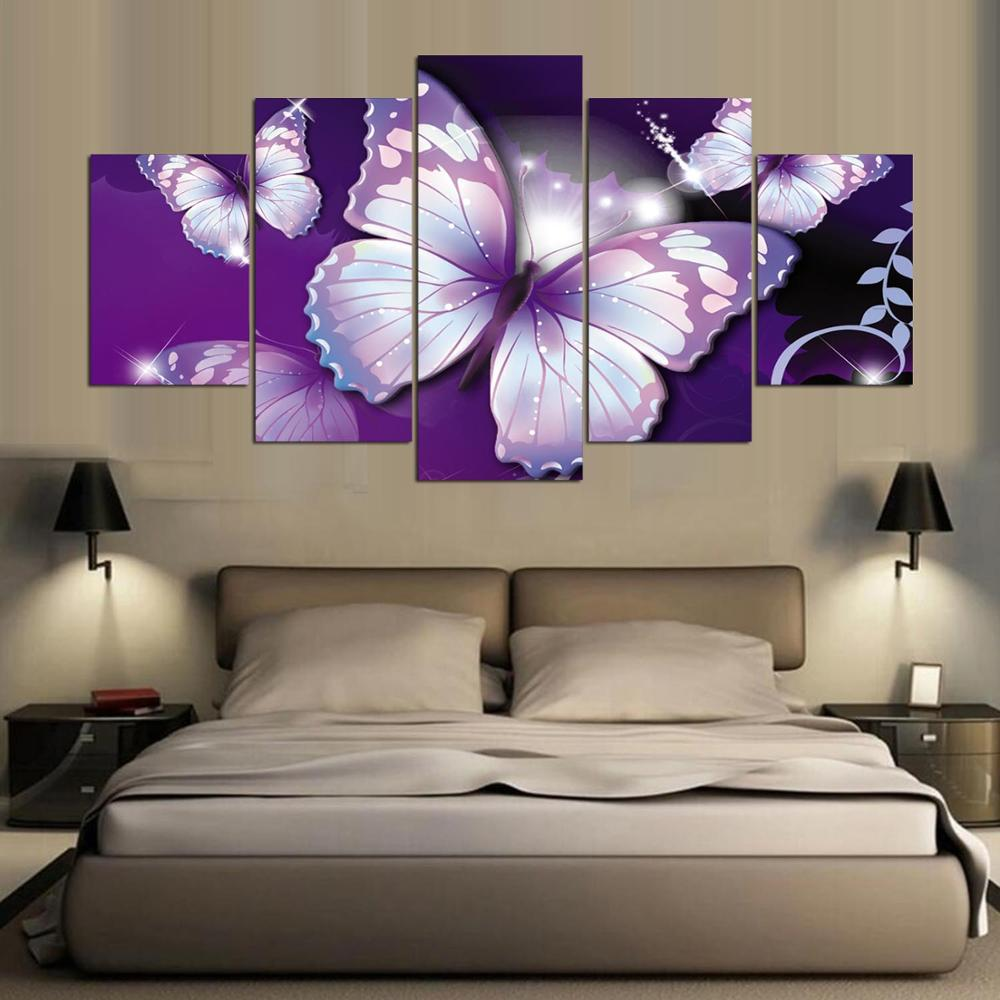 Butterfly Home Decor: Abtract Purple Butterfly Animal 5 Piece Canvas Art Wall