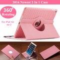 2016 el más nuevo caso para el iPad aire 360 giratorias Slots PU del cuero del soporte cubierta para el iPad aire 2 caja de la tableta