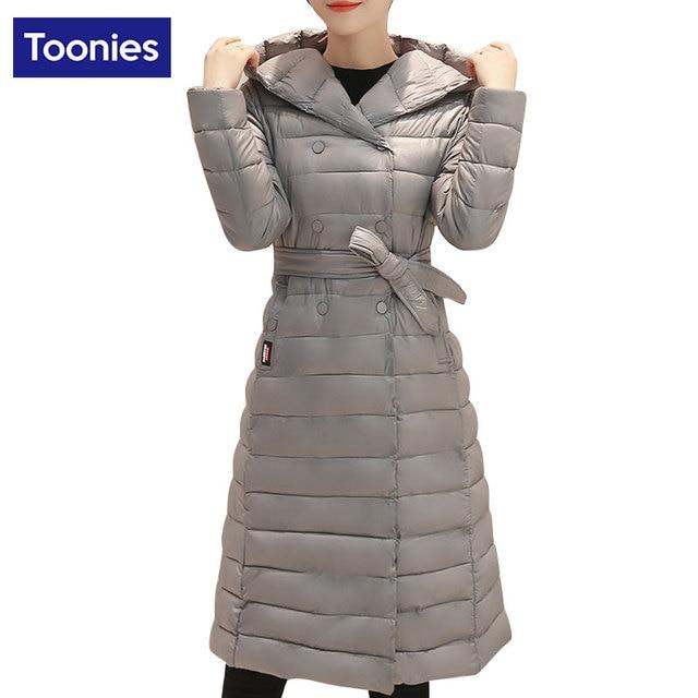 Women Parkas Paragraph Adjustable Style Elegant Jacket Coat Winter Light Slim Long Knee Length Cotton Down Women Coats Outwear