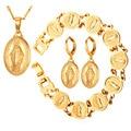 U7 Virgin Mary Jewelry Sets For Women Yellow Gold Plated Necklace Earrings Bracelet Sets Jesus Piece Women Jewelry S214