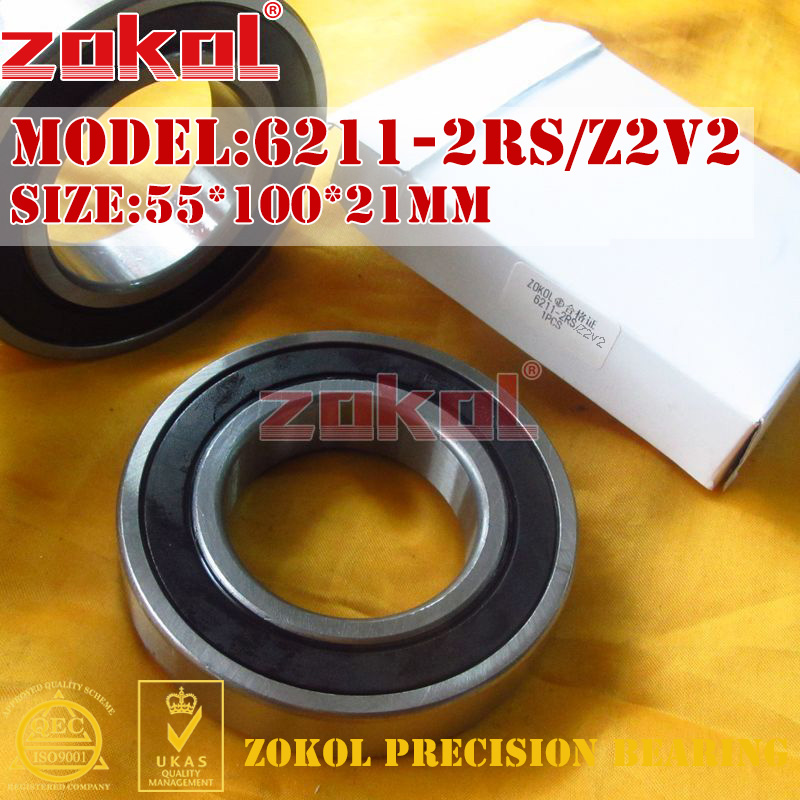 ZOKOL bearing 6211 2RS Z2V2 180211/Z2V2 Deep Groove ball bearing 55*100*21mm samsung rs 21 fcsw