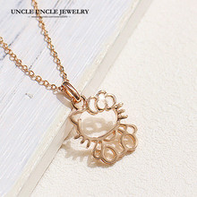 ФОТО free shipping 18k gold plated cute hello kitty style pendant necklace italina series