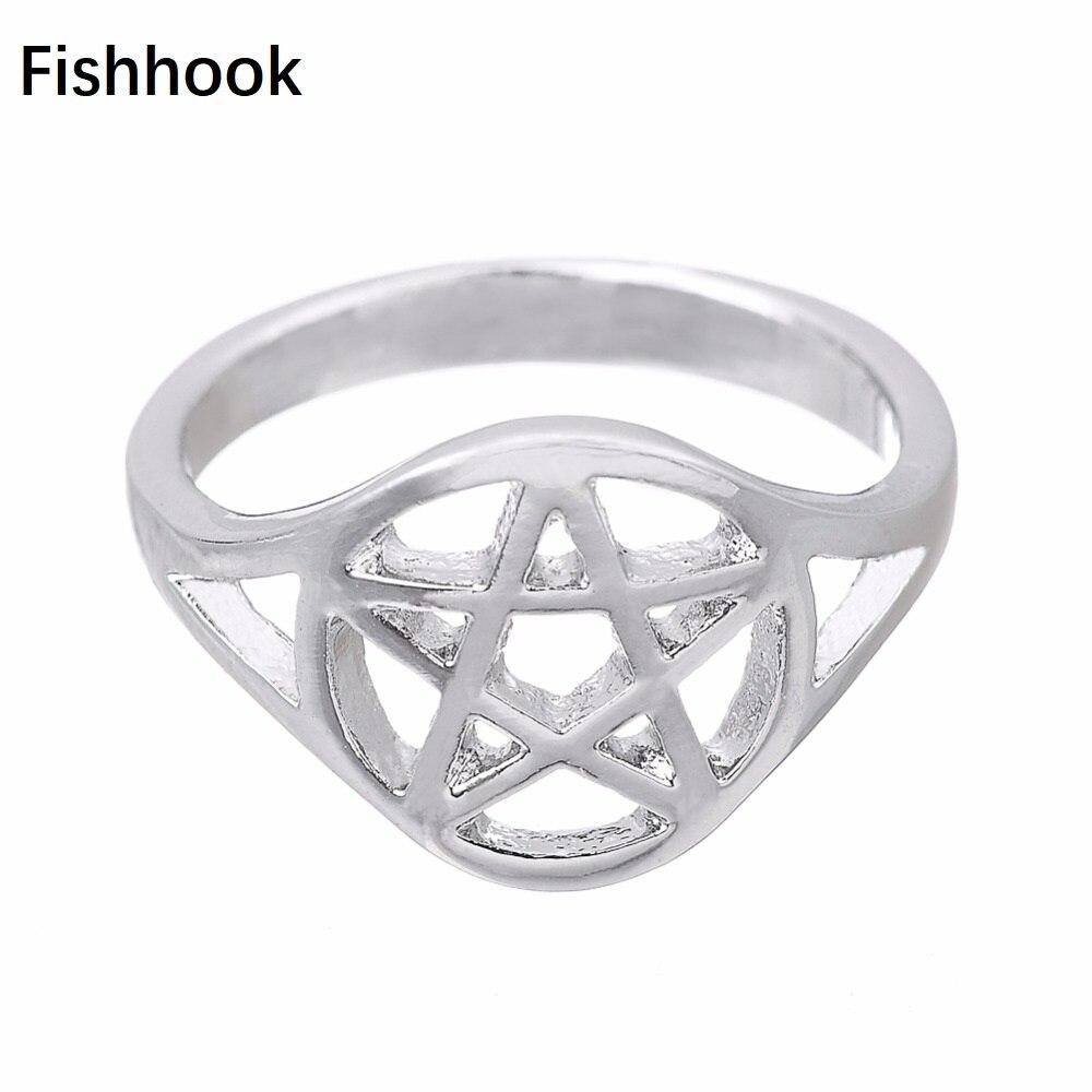 Zwc Mode Persönlichkeit Pentagramm Kristall Inlay Ring Für Frauen Männer Party Hochzeit Romantische Charme Zirkon Ring Geschenk Großhandel Verlobungsringe