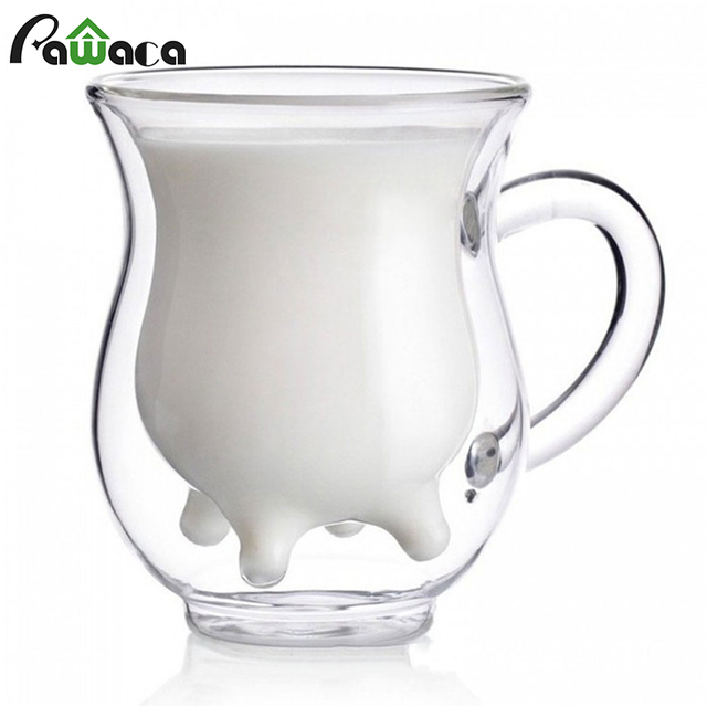 Cute Milk Mug Double Layer Heat-resistant Glass Cow Cups Clear Milk Cup for kids Milk Drink Water Juice Coffee Mugs Container