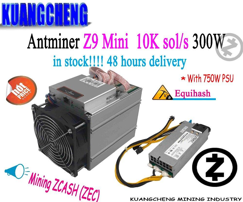 Бывший в употреблении Майнер Equihash 80-90%, Bitmain Antminer Z9 Mini 10k 300W с блоком питания 750W, Asic Майнер с быстрой доставкой
