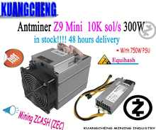 used old 80-90% new Equihash Miner Bitmain Antminer Z9 Mini 10k 300W With 750W Power Supply Asic Miner Fast delivery - DISCOUNT ITEM  0% OFF All Category