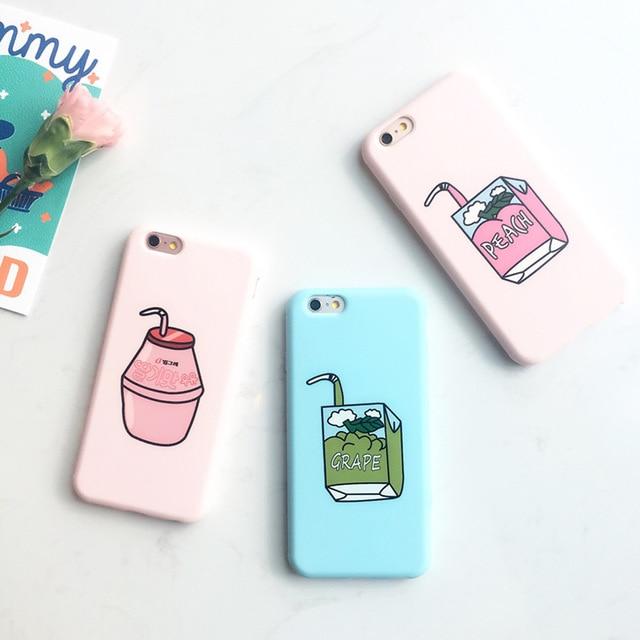 quality design f18ab 64f48 US $4.9 |ZMDLDZSW Leuke Pastel Candy Kleur Roze Perzik Sap Doodle Matt Soft  Slim TPU Cover Voor iPhone 6 6 S plus 7 plus 8 plus Telefoon Case in ...