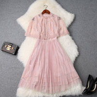 Women girls cute lolita style pink lace dress sleeveless pleated mesh dresses with lace cape new 2019 spring summer blue