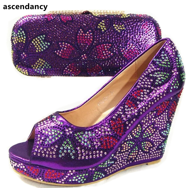 Dernières chaussures et sacs assortis africains de couleur pourpre italiens dans les chaussures nigérianes de femmes et les sacs assortis chaussure et sac ensemble nouveau 2017