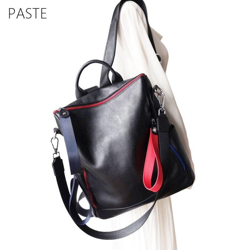 Korean Big Travel Backpack Large Capacity Natural Leather Backbag School Bags for Teenage Girls Panelled Chain