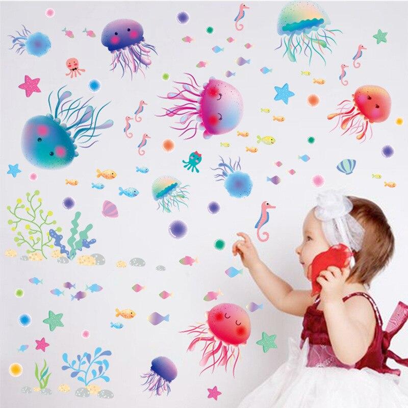 Съемные стикеры стены ванной туалет детская комната Настенный декор творческий живопись водонепроницаемые Симпатичные Медузы обои XL3042