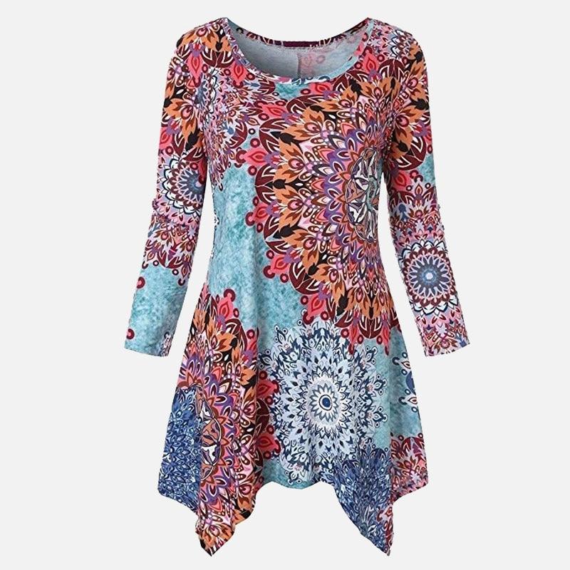 Plus Size 5XL Floral Print Tunic O-neck Women's Blouse Top Long Sleeve Irregular Autumn Womens Shirt Summer Loose Woman Shirts