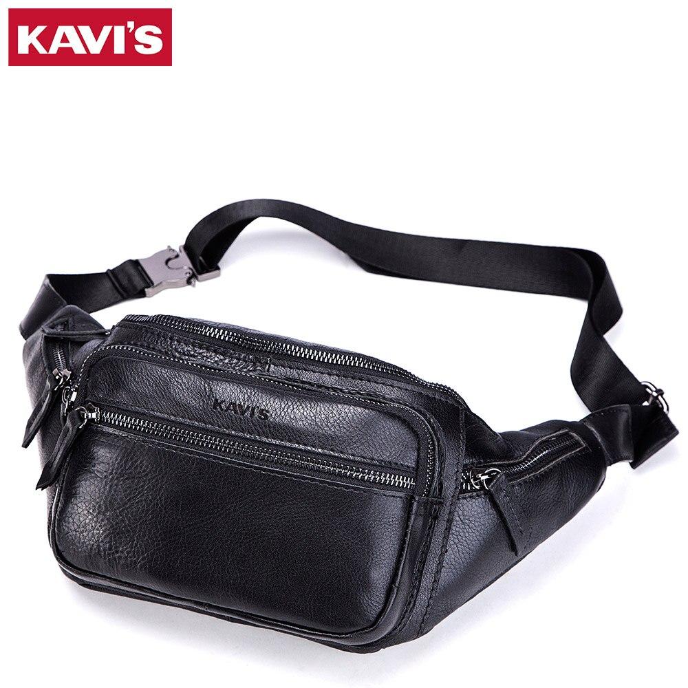 купить KAVIS Cow Quality Genuine Leather Chest Bag Men Handbag Shoulder Clutch Male Bags Bolsas Crossbody Messenger Travel Black Mens по цене 2112.68 рублей