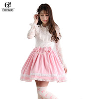 ROLECOS 2018 Pink Color Sweet Lolita Short Skirt For Women Lovely Suede Skirt With Imitation Pearl Bow Female Party SK