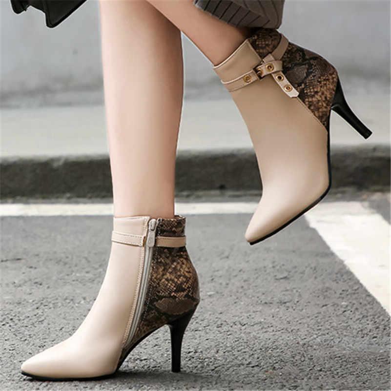 FEDONAS Moda Yan Fermuar Kadın yarım çizmeler Kış Ince Yüksek Topuklu kısa çizmeler Kadınlar için Metal Dekorasyon parti ayakkabıları Kadın