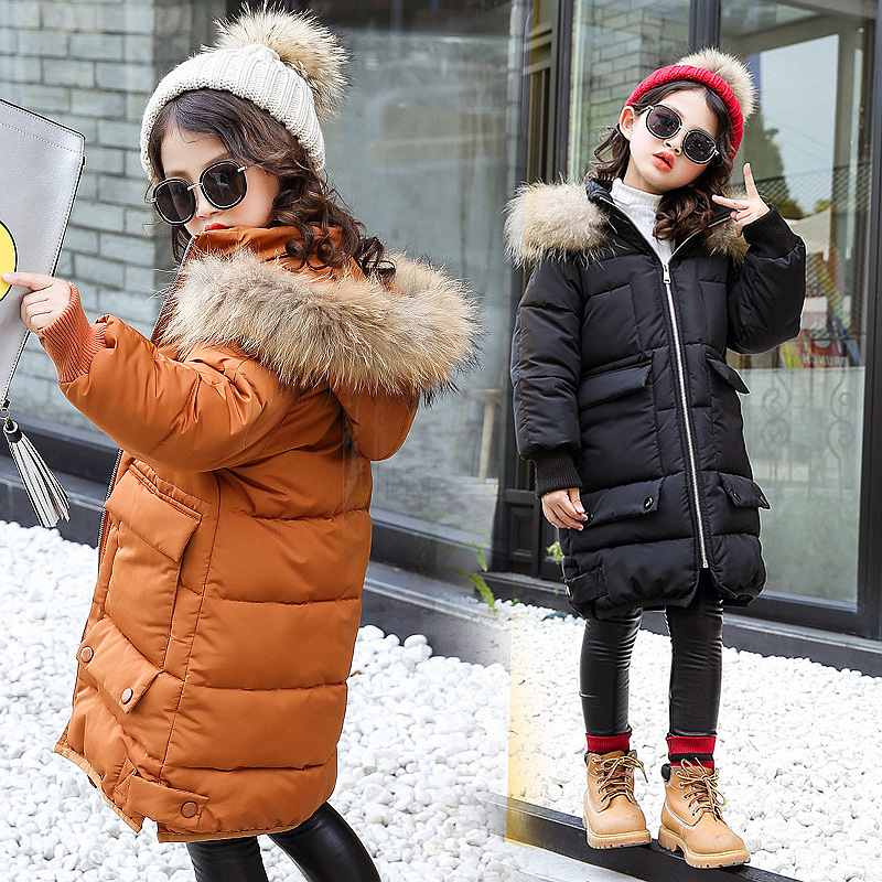 Girls Down & Parkas 2018 New Fashion Baby Girl Winter Clothes Kids Jackets Fur Collar Long Sleeve Cotton-padded Warm Jackets 12 handcraft men velvet shoes with bird embroidery british style smoking slippers fashion party and wedding men dress loafers