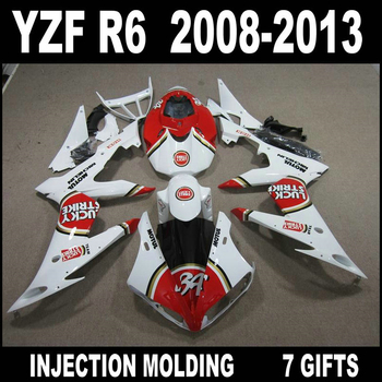 High quality parts for YZF R6 2008 2009 2010 - 2013 new red white black fairings YAMAHA R6 08 09 10 11 12 13 fairing kit WJN74