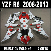 High quality parts for YZF R6 2008 2009 2010 2013 new red white black fairings YAMAHA R6 08 09 10 11 12 13 fairing kit WJN74