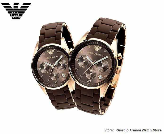 Free shipping EMS/DHL original Giorgio Armani watches plastic steel rose gold, brown disc couple tables, Armani watches AR5890 цена