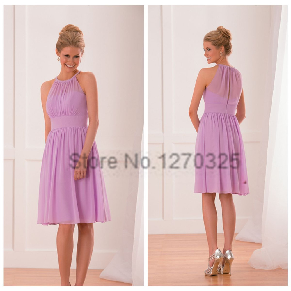 Robe demoiselle d honneur2017 new chiffon hanging neck ALine lavender bridesmaid  dresses short plus size vestido madrinha-in Bridesmaid Dresses from ... af017ffa7b10