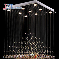 GETOP Modern K9 Square Crystal Chandelier Restaurant Lamp Hanging Wire Pyramid Crystal Lamp Project Lights free shipping