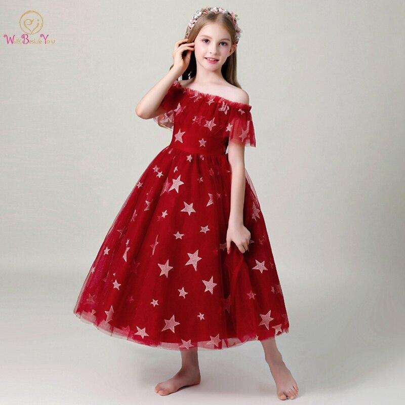 Flower     Girl     Dresses   for Weddings 2019 Off Shoulder Boat Neck Ankle Length Short Sleeves Wine Red Black Star Pattern Ball Gown