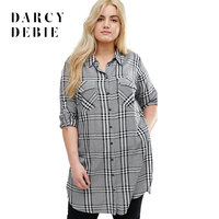 Dacydebie Plus Size New Fashion Women Button Down Half Sleeve Plaid Shirt Big Size Check Cotton split Long Shirt 3XL 4XL 5XL 6X