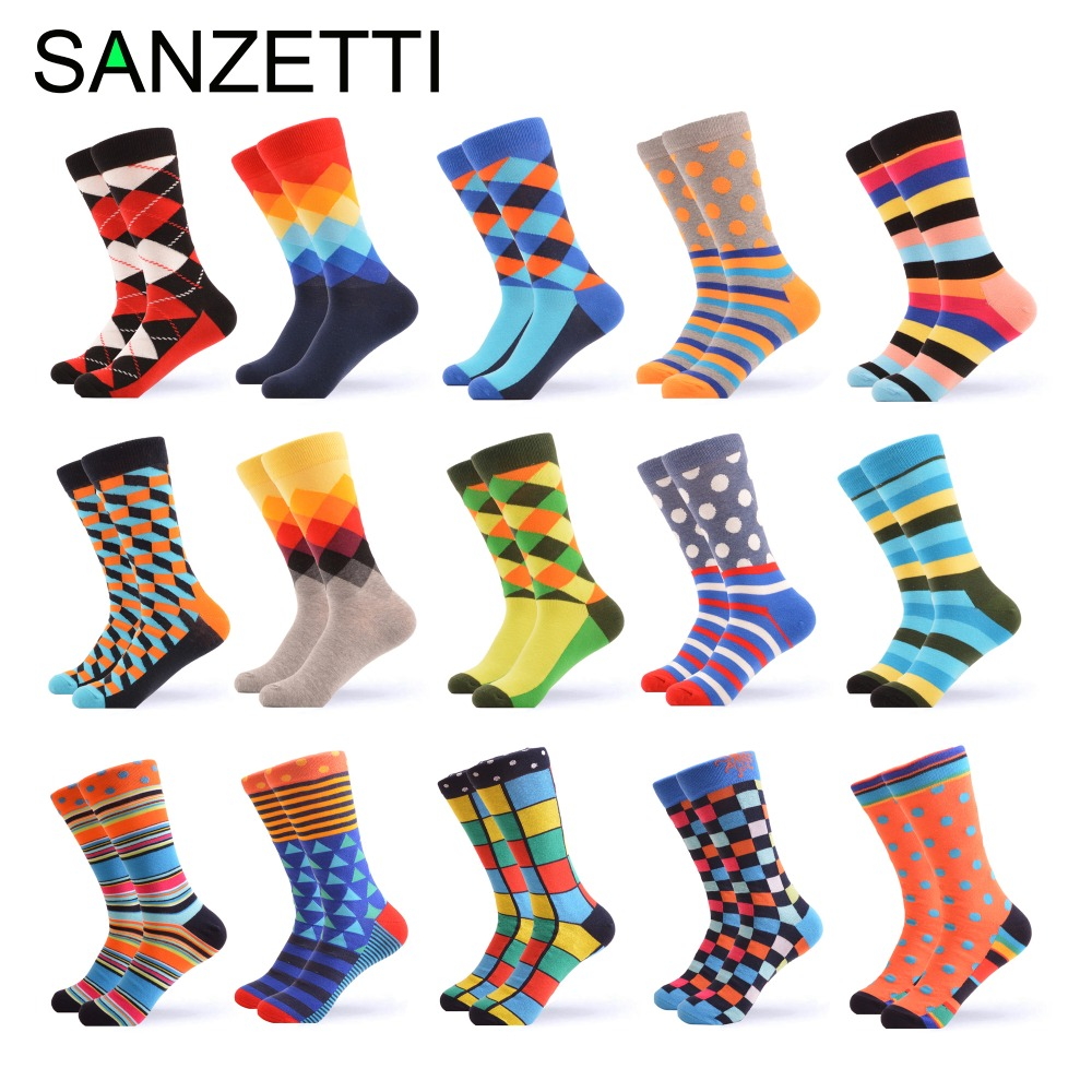 SANZETTI men's combed cotton   socks   casual tube   socks   colorful dress striped plaid pattern comfortable party gift happy   socks