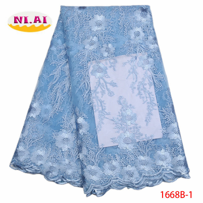 Latest Sky Blue African Laces Fabrics Embroidered High Quality French Lace Fabric Cheap Nigerian Net tulle