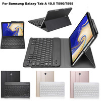 Wireless Bluetooth Keyboard With Leather Case Cover For Samsung Galaxy Tab A 10.5 T590/T595 Tablet