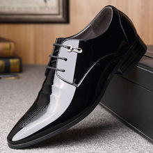 2019 Fashion luxury noble bright leather dress business casual mens shoes increase breathable men