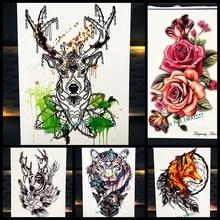 25 Style Long Lasting Deer Temporary Tattoo Women Body Art Tatoo Arm Sleeve Henna Rose 21x15CM Elk Fake Flash Tattoo Black