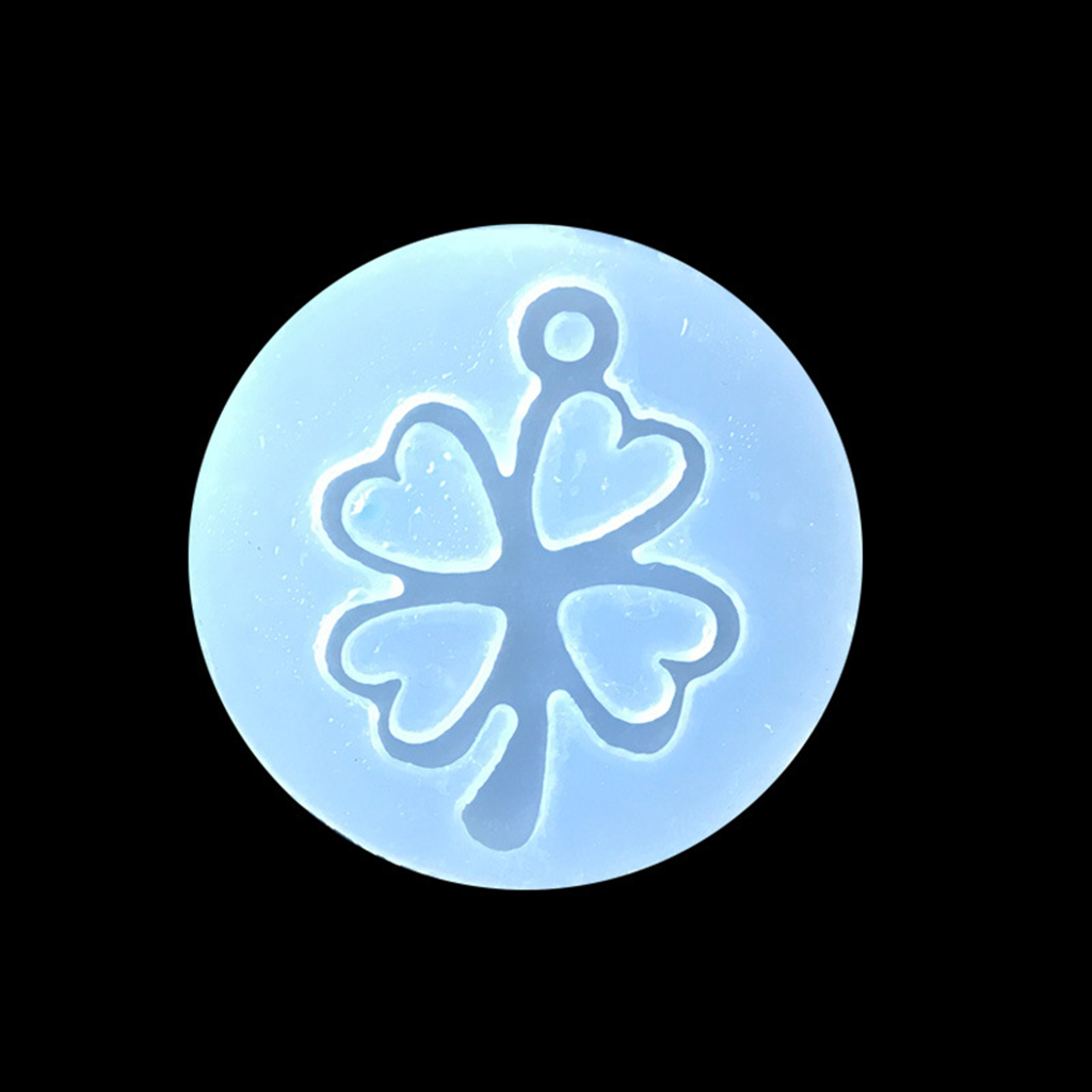 Silicone Mold Hollow Clover With Hole Resin Clay Jewelry Pendant Charms DIY Making Mould