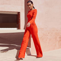 2018 New Women Orange Long Sleeve Jumpsuit High Quality Sexy Backless O Neck Bodycon Solid Celebrity Party Jumpsuits Wholesale
