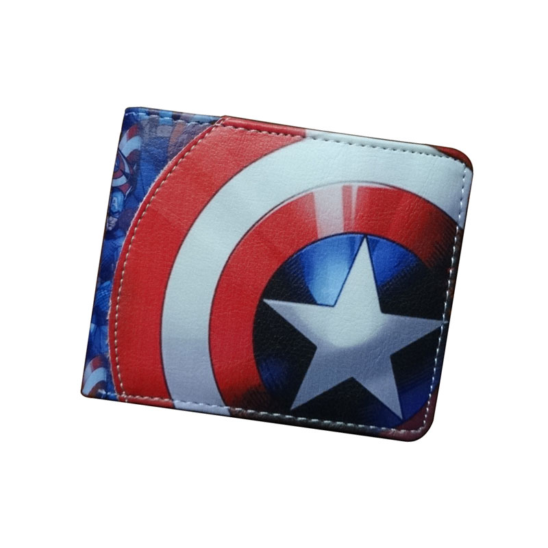 DC Marvel Comics Anime Purse Captain America Super Hero Wallet Leather Card Bags Dollar Price Men Women Short Wallets carteira hot super mario purse games cartoon super mario logo wallets red dollar bag carteira gift men women kid fashion pvc short wallet
