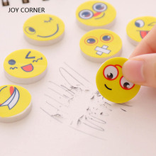 Novelty Erasers for Kids (12 Pieces/Lot) New Lovely Funny Smile Face Pattern Eraser Cute Rubber Mini Size Kids Gifts JOY CORNER