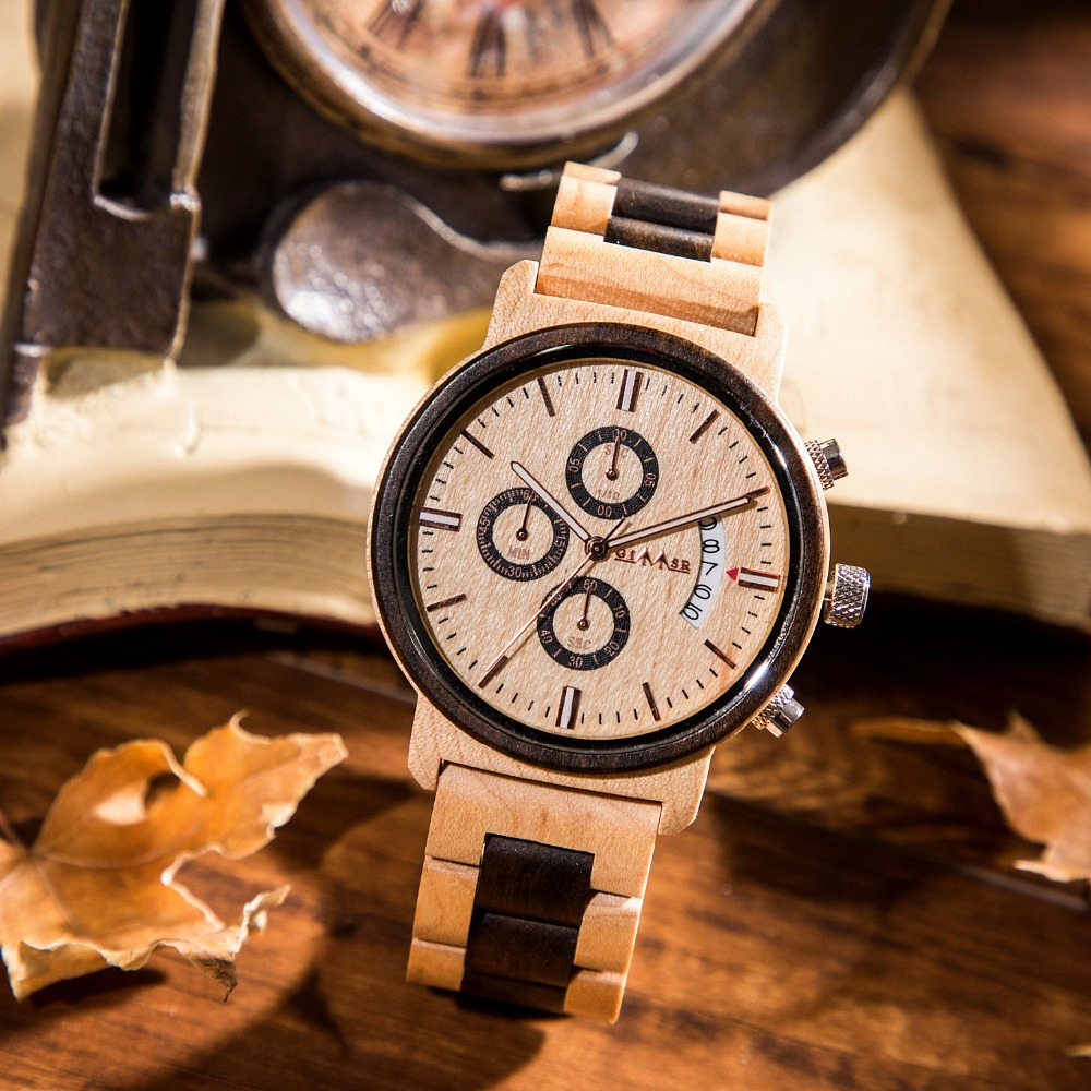 GIMSR Men's Wooden <font><b>Watches</b></font> Chronograph Analog Quartz <font><b>Watch</b></font> with Date, Luminous Hands,Luxury Retro Wood Wristswatch for Man <font><b>M13</b></font> image