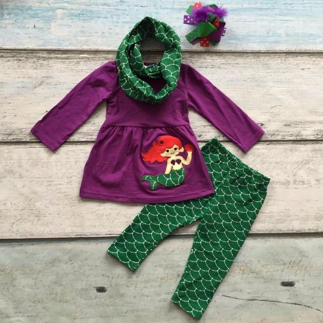 OUTONO/Inverno cachecol set crianças terno de algodão do bebê meninas sereia 3 peças calças de impressão boutique de roupas crianças usam correspondência arco