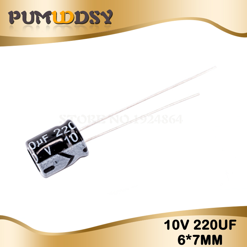 50PCS Higt Quality 10V220UF 6*7mm 220UF 10V 6*7 Electrolytic Capacitor