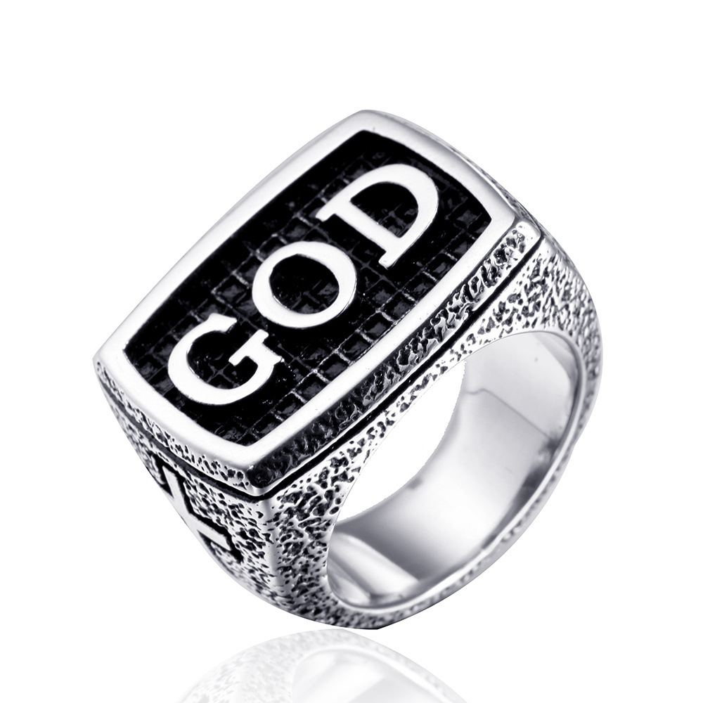 NEW silver punk cross rings for mens 316L stainless steel vintage cross jesus god ring women retro letter rings in Rings from Jewelry Accessories