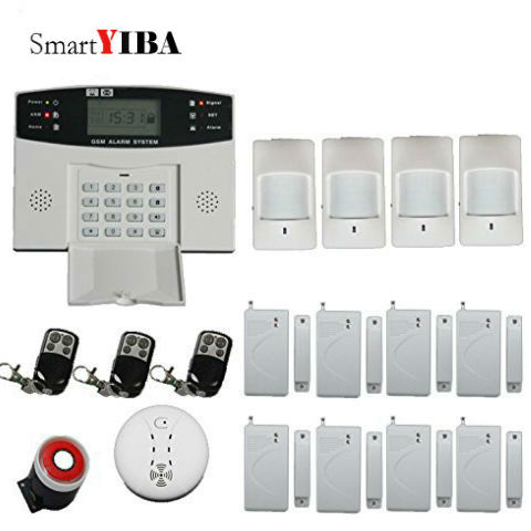 SmartYIBA Home Burglar Alarm System Wireless PIR Infrared Sensor Motion Detector Fire Smoke Alarm SMS GSM Alarm Kits 1set home security protection gsm sms wireless alarm system pir motion detector smoke alarm magnet door sensor wireless siren