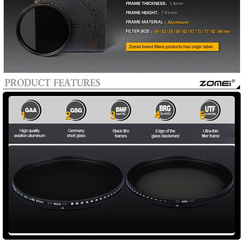 Zomei 49/52/55/58/62/67/72/77/82 Fader Variable ND Filter Adjustable 9-Stops ND2-400 Neutral Density Lens Filter for DSLR Camera 4